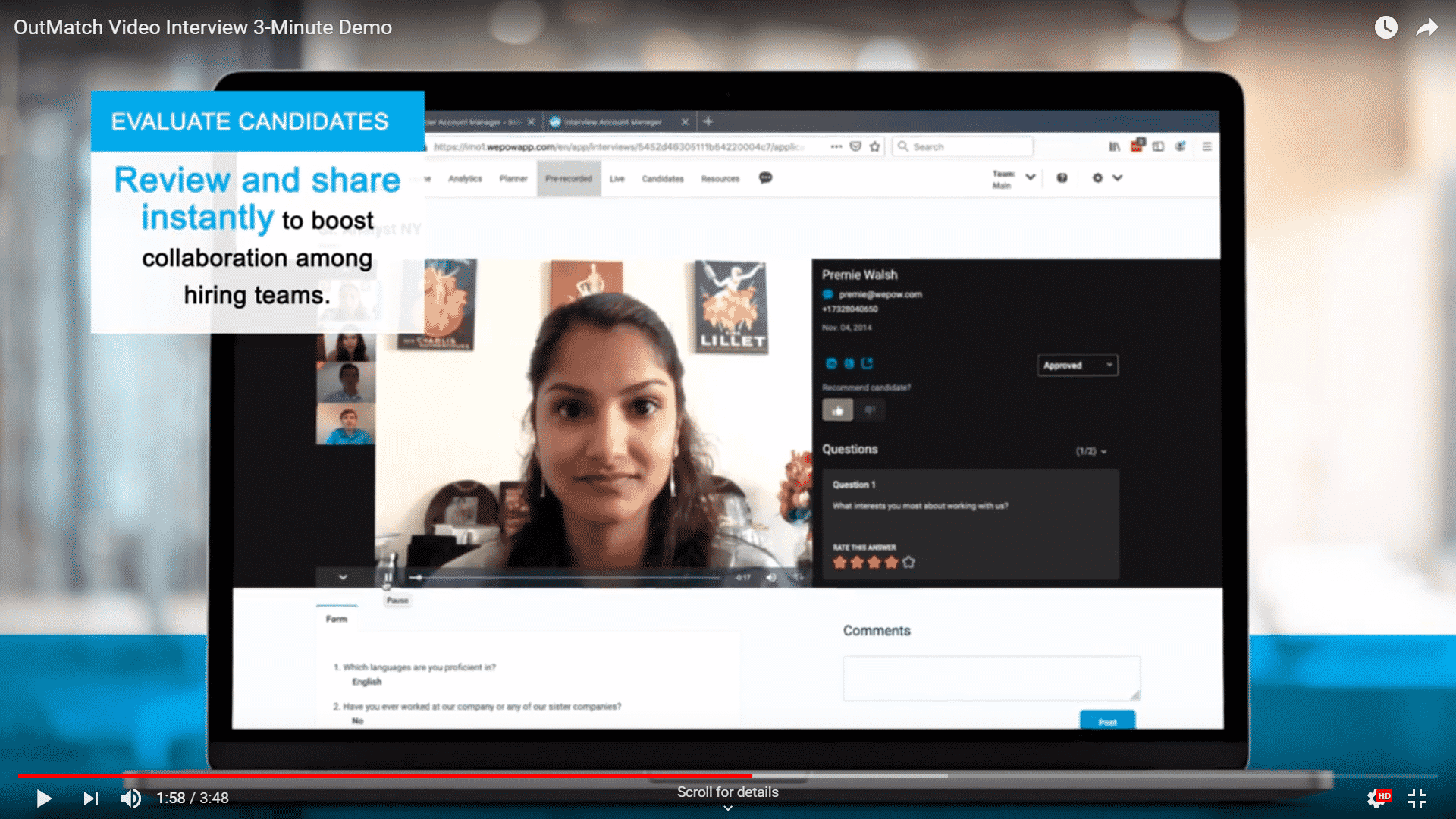 OutMatch Video Interview 3-Minute Demo